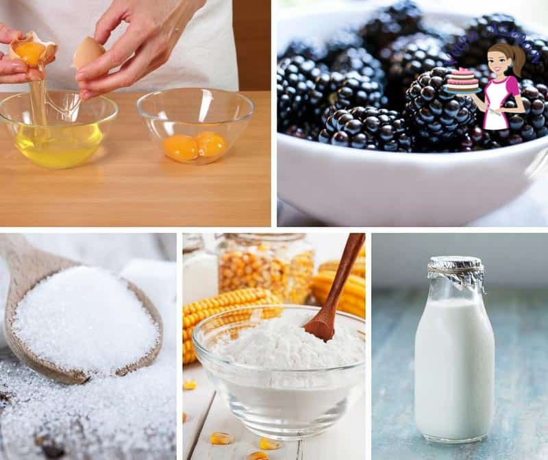 A collage of the ingredients for making blackberry mousse.