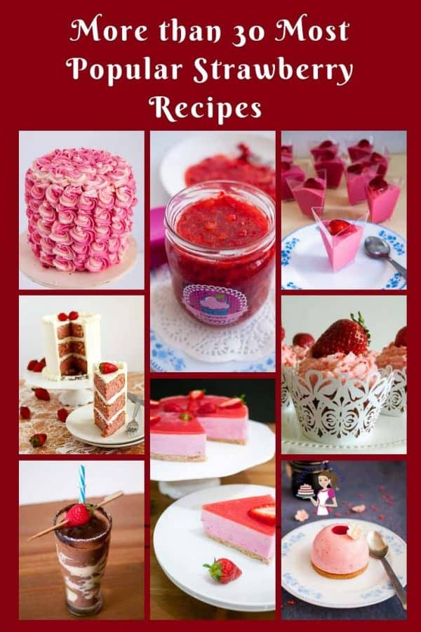 A collage of strawberry recipes.
