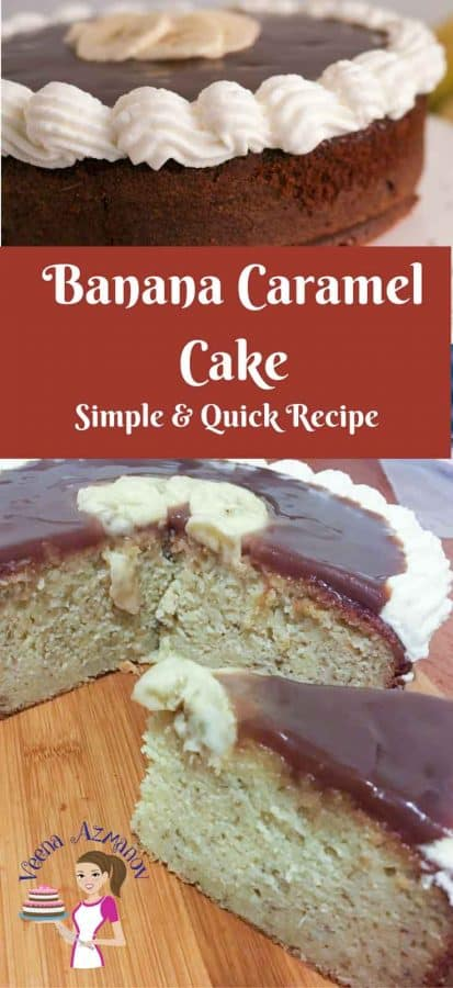 This simple easy and quick recipe for banana caramel cake is perfect for a weekday brunch or afternoon tea party. The cake is fairly simple to make and you can use store bought caramel as topping which makes the whole process stress free.