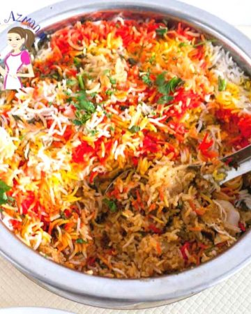 A pot with biryani made Hyderabad with Dum.