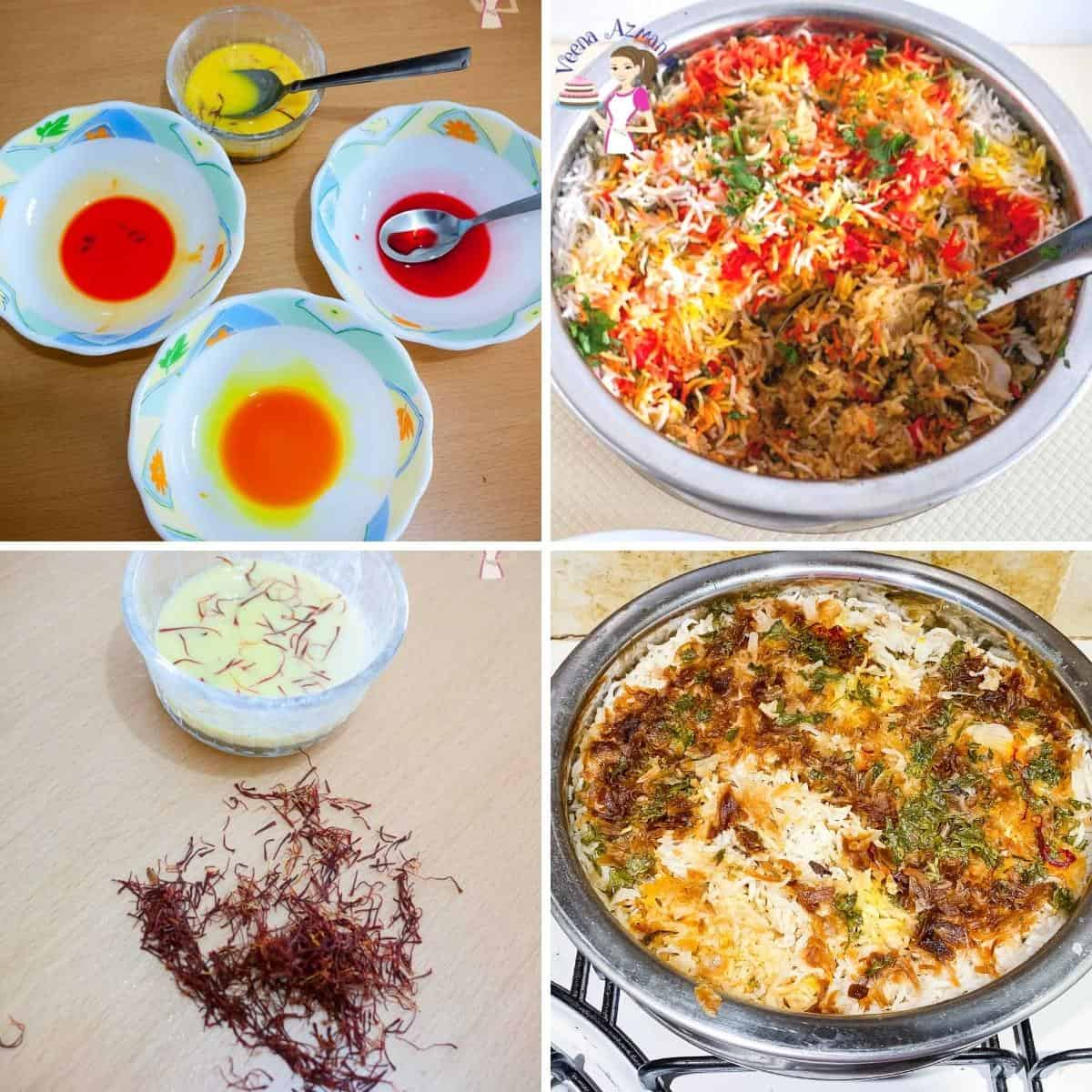 How to color the rice for biryani Progress pictures.