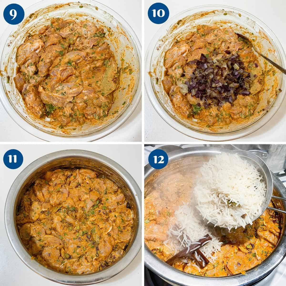 Progress pictures layering the biryani pot with chicken and rice.
