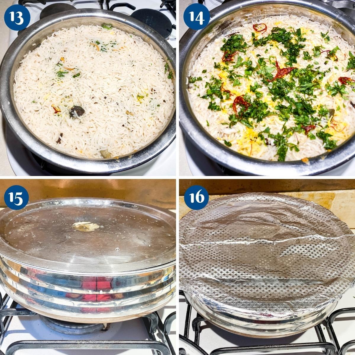 Progress pictures cooking the biryani with dum.