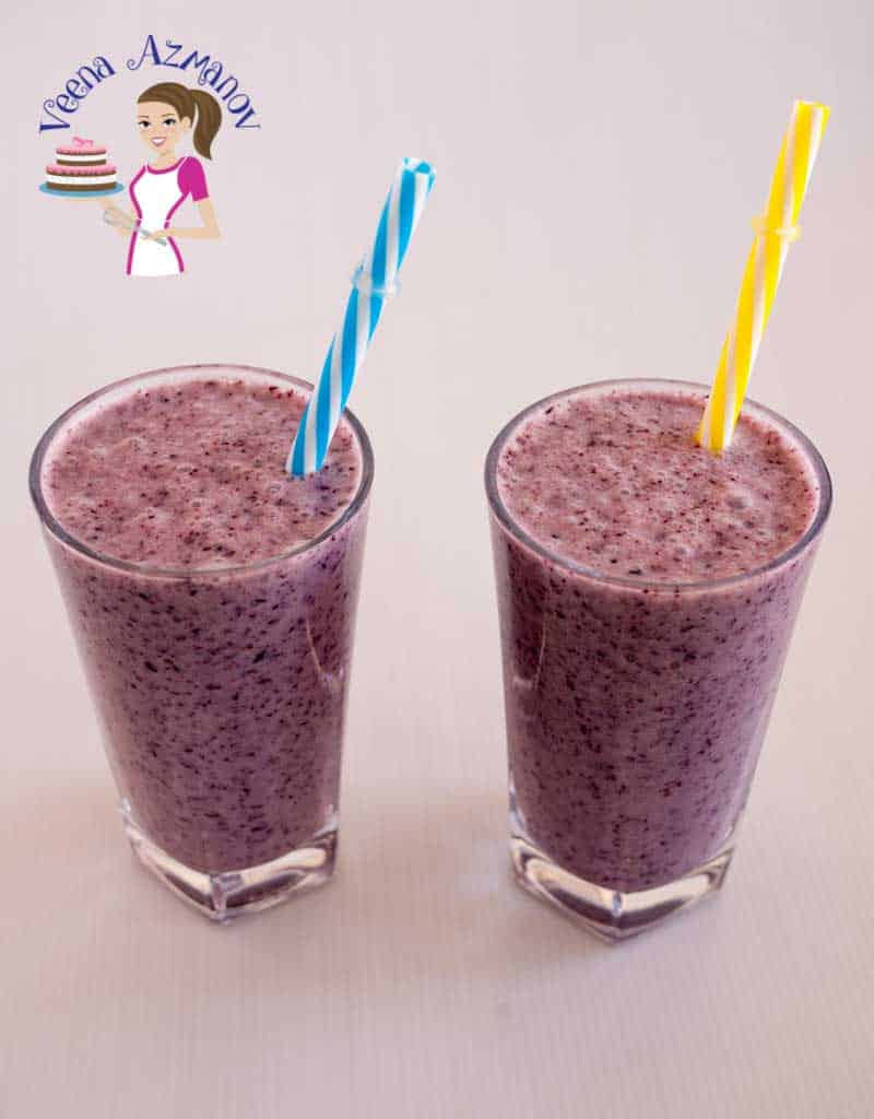 Tops angle view showing the color of these blueberry banana smoothies. The intense color comes from the blueberries