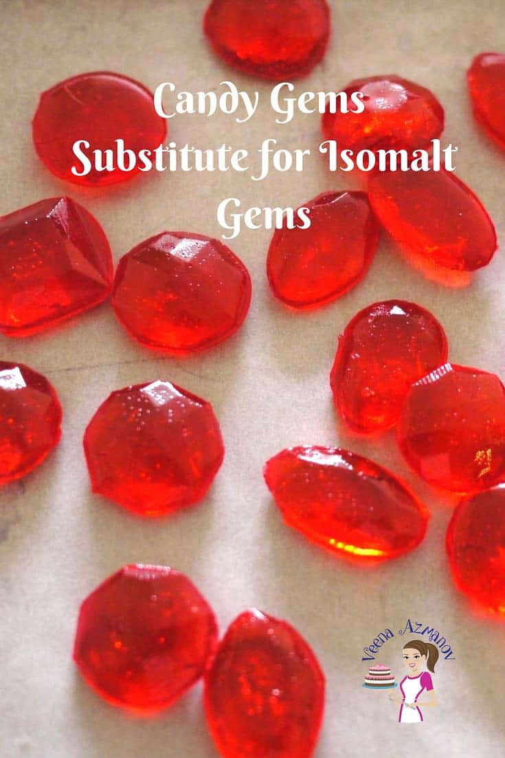 A Pinterest Optimized image for Isomalt Gem Substitute using candy gems perfect for kids or fashion inspired cakes.