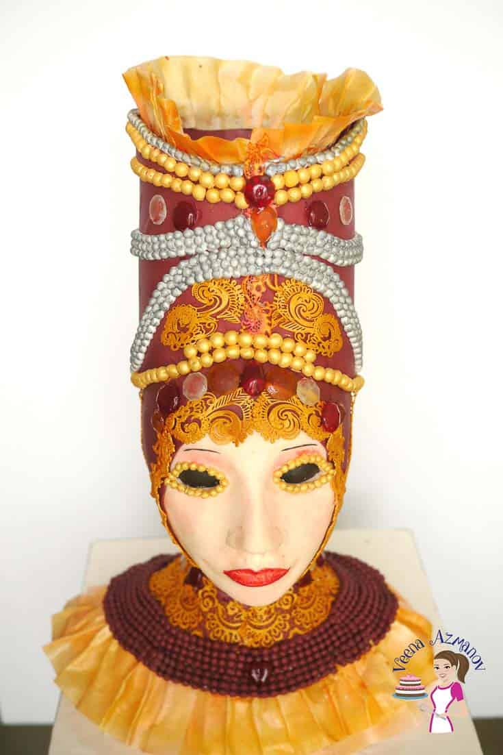 A Carnival Cake made using Candy Gems as Isomalt Gem Substitute - perfect for fashion inspired cakes.