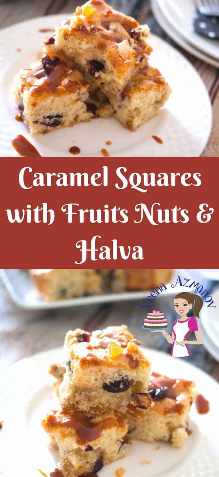 These Caramel Squares with Fruit Nuts and Halva recipe are a perfect tea time cake that absolutely melts in your mouth. The delicious fruit nuts is enhanced with the sweetness of the halva. The caramel topping just takes it to a whole new experience. I'm very sure you will be adding this to you party favorites.