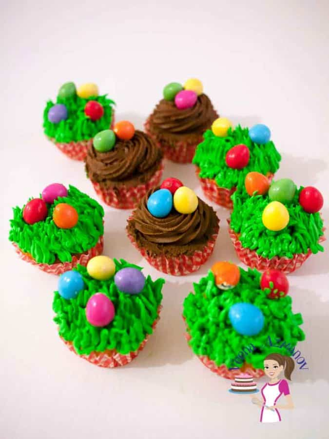 Easy and incredibly super moist these carrot cupcakes topped with luscious sweet frosting will be your favorite from now on. I made them festive with these cute Easter eggs but these are delicious all year round.