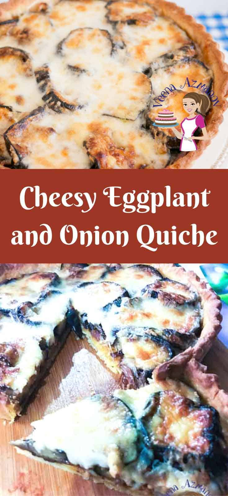This cheesy eggplant and onion quiche is simple easy & super simple to make and uses grilled eggplant and grilled onions. It's a great make ahead dish, almost all components can be made the day before.