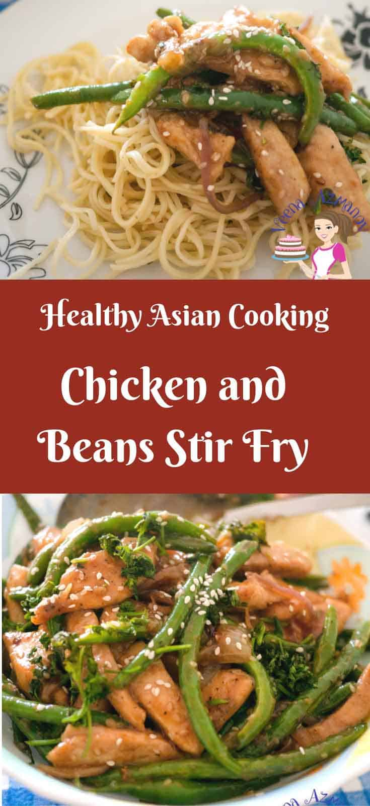 What can be more desirable on a weekday lunch? A quick and easy chicken green beans stir fry that gets done is 15 minute or less? This simple, easy and effortless recipe is not just super simple but healthy too. Crisp green beans with soft tender chicken cooked in a sweet soy based sauce topped with crunchy sesame seeds is a perfect one pot meal for any family.