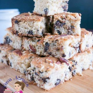 This chocolate chip squares are perfect tea time treat weather you looking for something simple or something to entertain. A mixture of coconut and almonds with delicious chocolate chips for the ultimate luxury