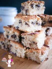 This chocolate chip squares are perfect tea time treat weather you looking for something simple or something to entertain. A mixture of coconut and almonds with delicious chocolate chips for the ultimate luxury.
