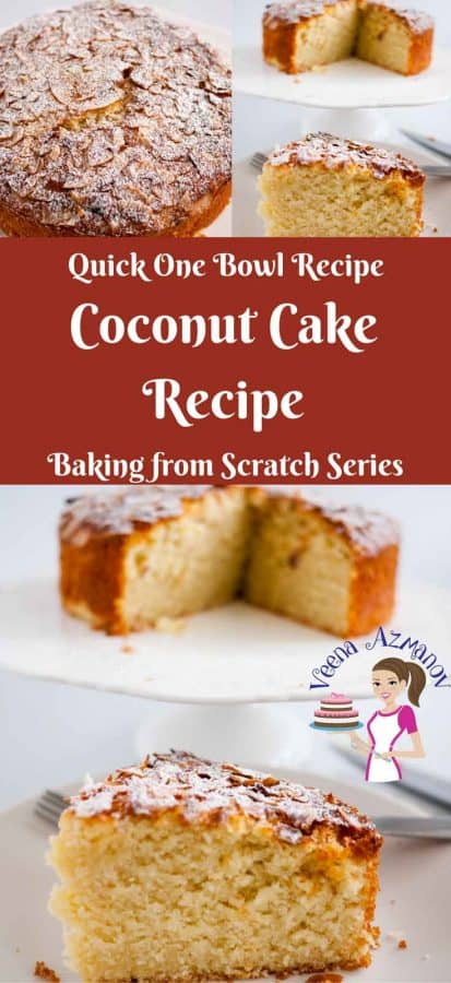 An image optimized for social sharing - for this simple coconut cake recipe made using desiccated coconut using a one bowl method. A simple and easy coconut cake.