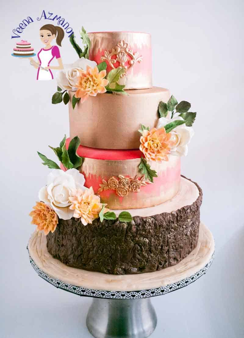 Dahlia Gold Wedding Cake (10)
