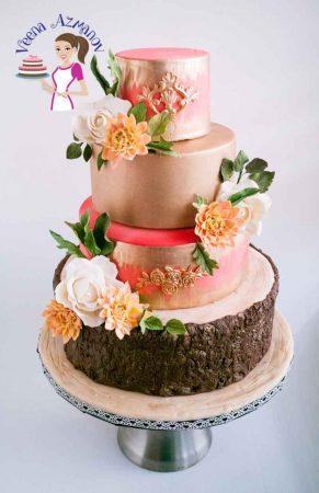 Dahlia Gold Wedding Cake
