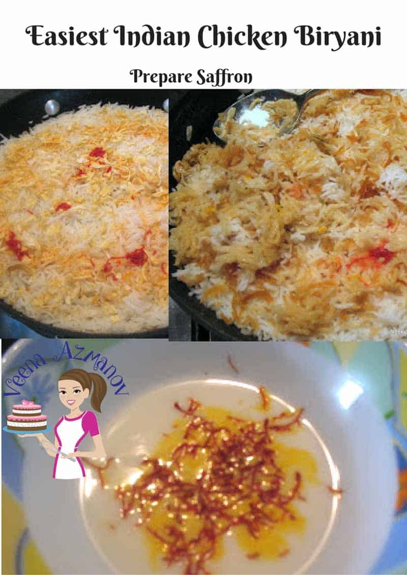 Progress Pictures for Easiest Chicken Biryani - How to prepare the saffron with milk