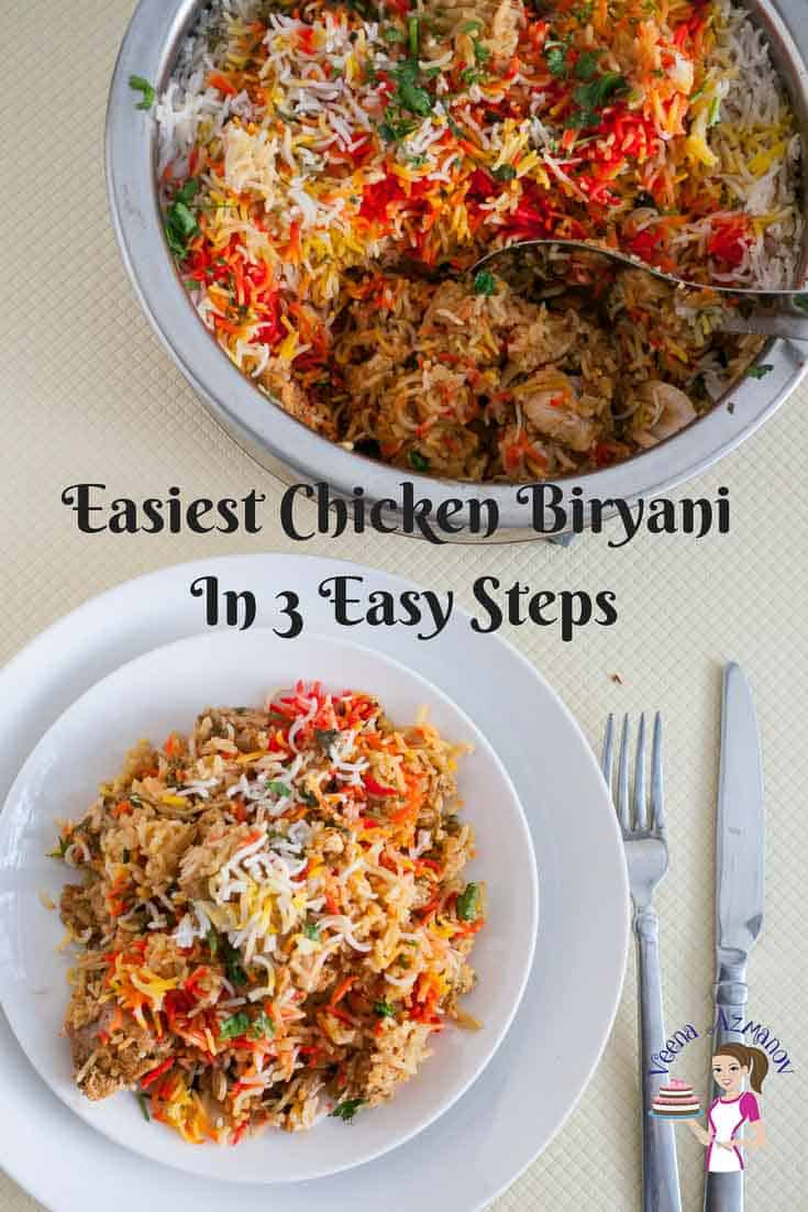 Pinterest Optimized Image for Easiest Chicken Biryani in three easy steps for how to make chicken biryani
