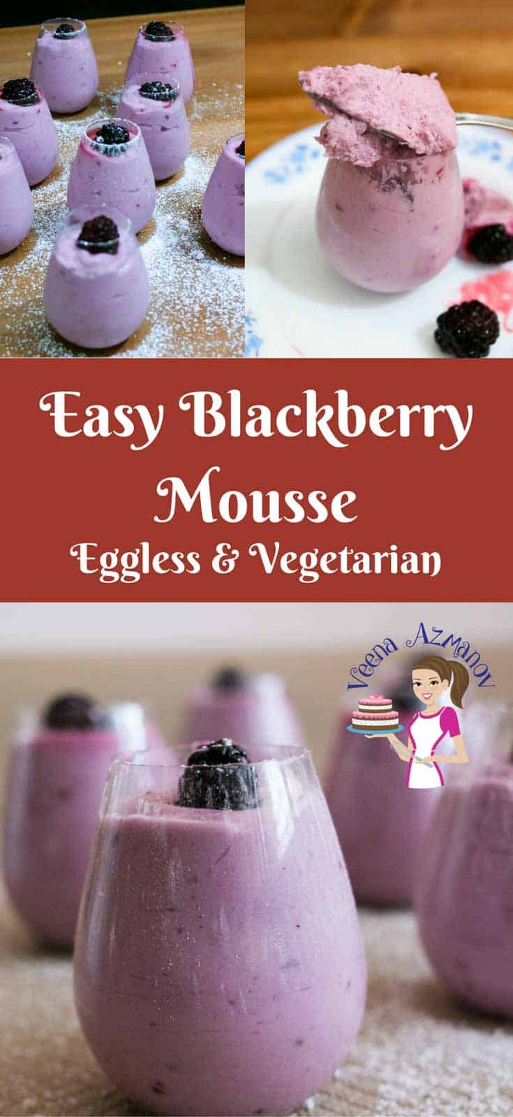 This easy blackberry mousse recipe is decadent as it is delicious. Simple, easy and quick to make in three easy steps. Using agar agar instead of gelatin means it sets quickly too.