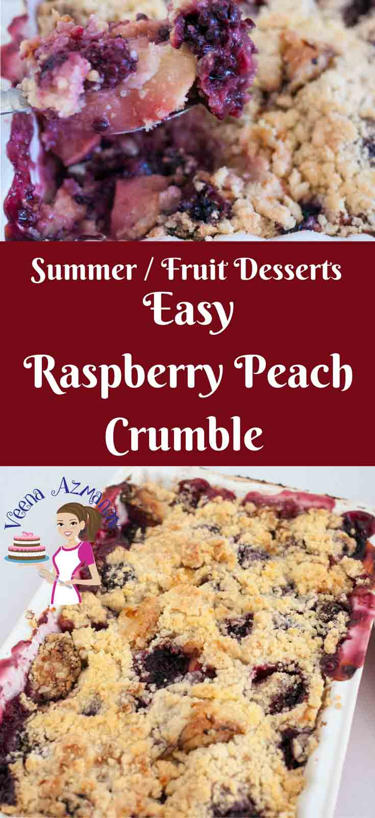Peach crumble is the ultimate comfort food when it comes to stone fruit desserts. Peaches pair well with most berries and are absolutely divine with raspberry. This raspberry peach crumble is not just simple and easy but also effortless and scrumptious.