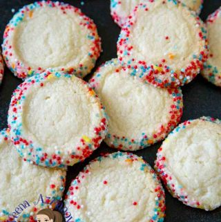 Butter cookies are always a treat and these coated with sprinkles make a fun addition to any celebration. This simple, easy and effortless recipe for sprinkle butter cookies need no in between chilling which means you can make this recipe from start to finish in less than 20 minutes. A great recipe to have on hand when you want a quick and easy cookie recipe for unexpected little guests that show up at play dates and practice.