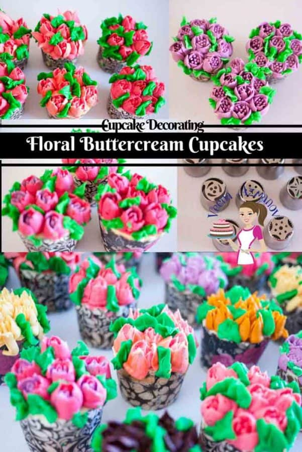 These floral buttercream cupcakes are the simplest, easiest and quickest way to dress cupcakes for a quick party or give away. With my buttercream recipe and tips for the perfect consistency you be making this more often then you planned