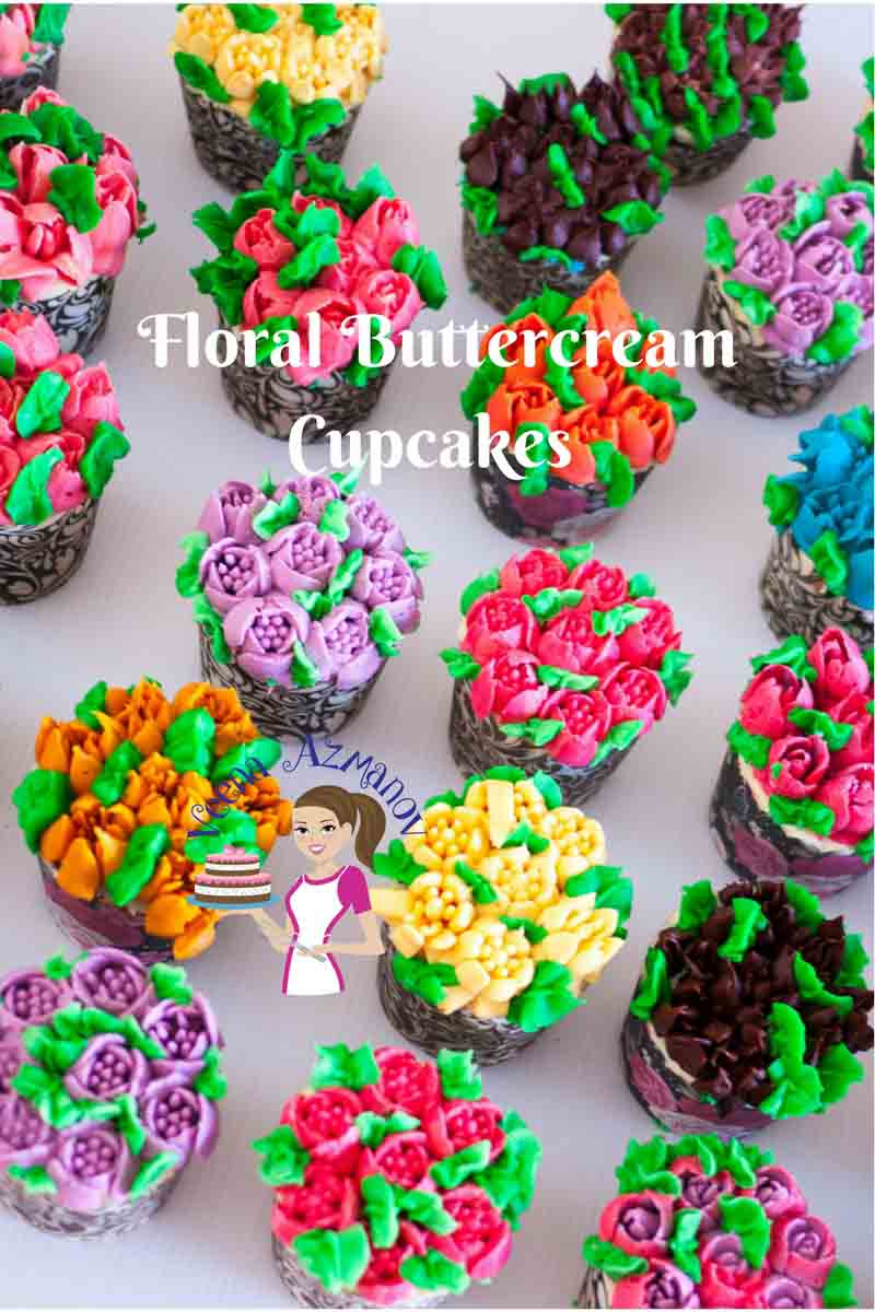 Cupcakes decorated with buttercream flowers.