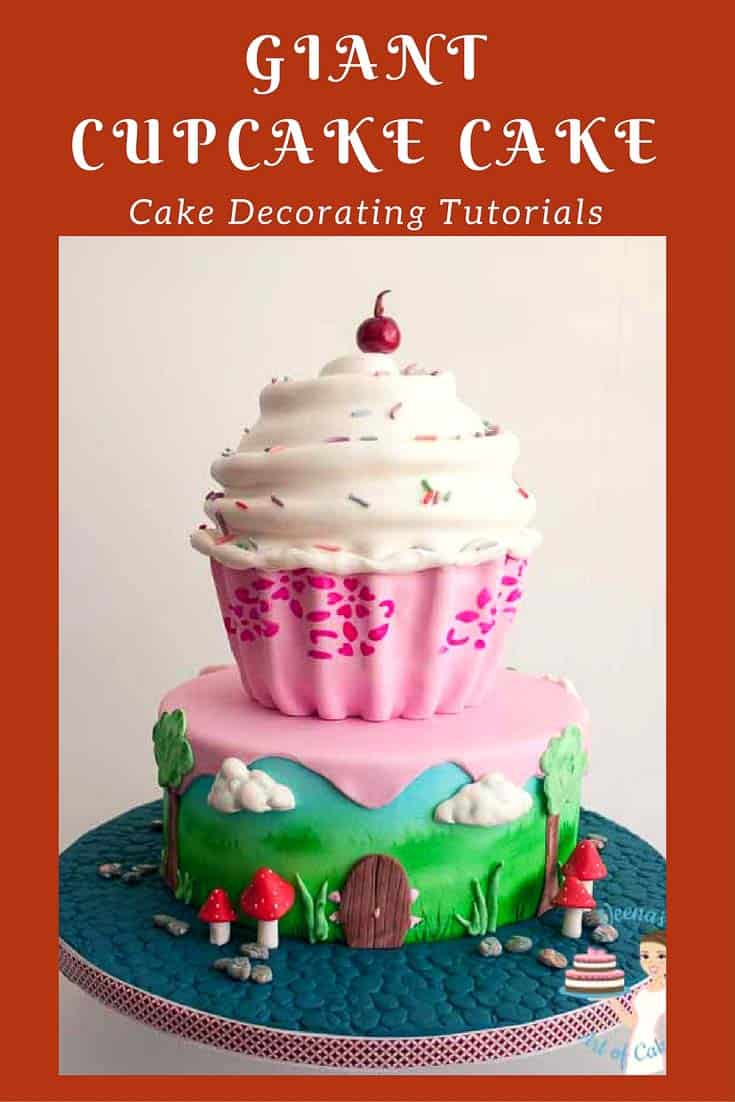 A giant cupcake cake makes a wonderful birthday cake for a kids birthday celebration be it boy or girl. We add a feminine touch to the design on the bottom tier with a enchanted forest effect as well as stenciling the giant cupcake. This video tutorial shares in detail the whole process of making this cake.