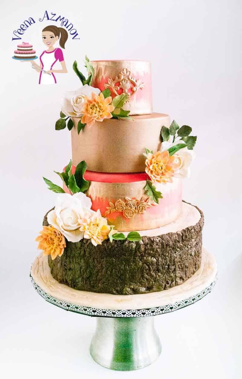 Dahlia Gold Wedding Cake Veena Azmanov - Fudge Wedding Cake