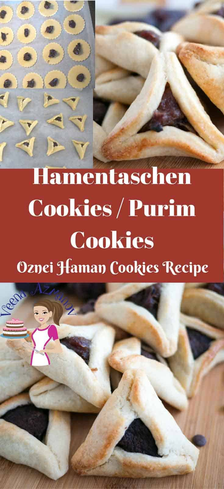 A Pinterest Optimized Image for Purim Cookies also know as Hamentaschen or Oznei Haman - with traditional as well as some modern filling