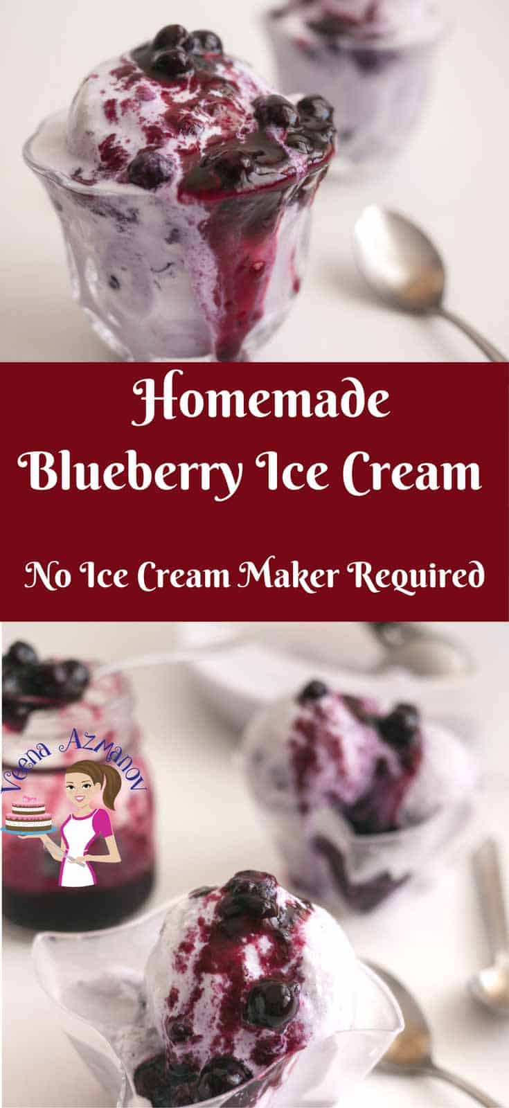 An Image optimized for social sharing for this no churn blueberry ice cream recipe, best blueberry ice you will ever make with vanilla pastry cream
