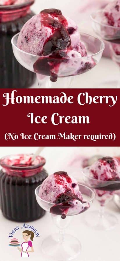 This Cherry Ice Cream is a perfect summer treat made with fresh seasonal cherries and classic vanilla pastry cream then topped with more cherry filling on top for that ultimate luxury. So creamy you do not need to churn it in an ice cream maker.