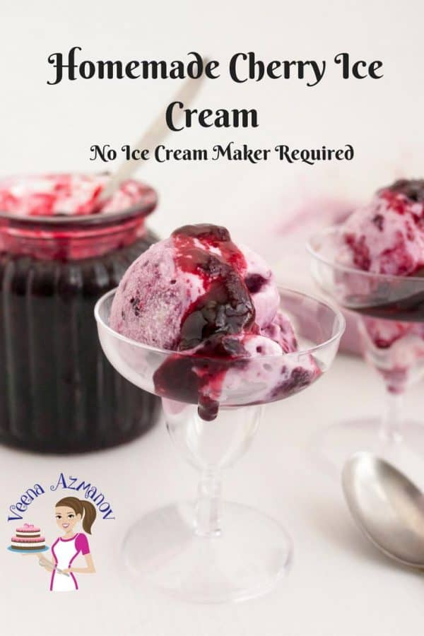 Ice creams make perfect summer treats. This simple, easy and effortless recipe makes the most indulgent cherry ice cream ever.  Made with fresh seasonal cherries, my classic vanilla pastry cream, then folded with whipped cream.  Topped with more cherry filling on top for that ultimate luxury. So creamy you do not need to churn it in an ice cream maker. #ice-cream
