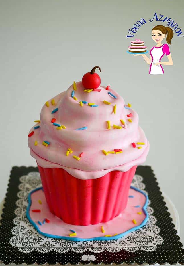 The finished giant cupcake cake - A step by step tutorial on how to make this adorable giant cupcake cake.