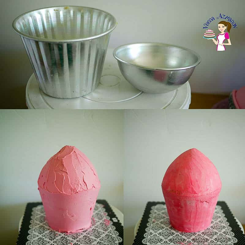 Progress Pictures 1 - for Giant Cupcake Tutorial - Collage show the pans I used as well as the basic frosted cake.