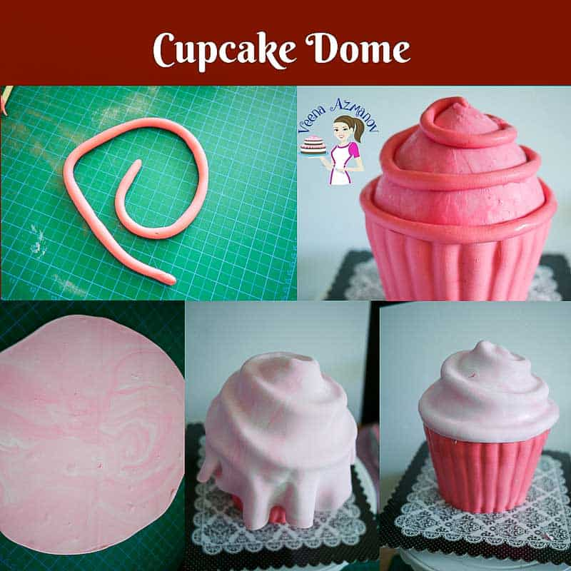 Progress photos of making a cake decorated to look like a giant cupcake.