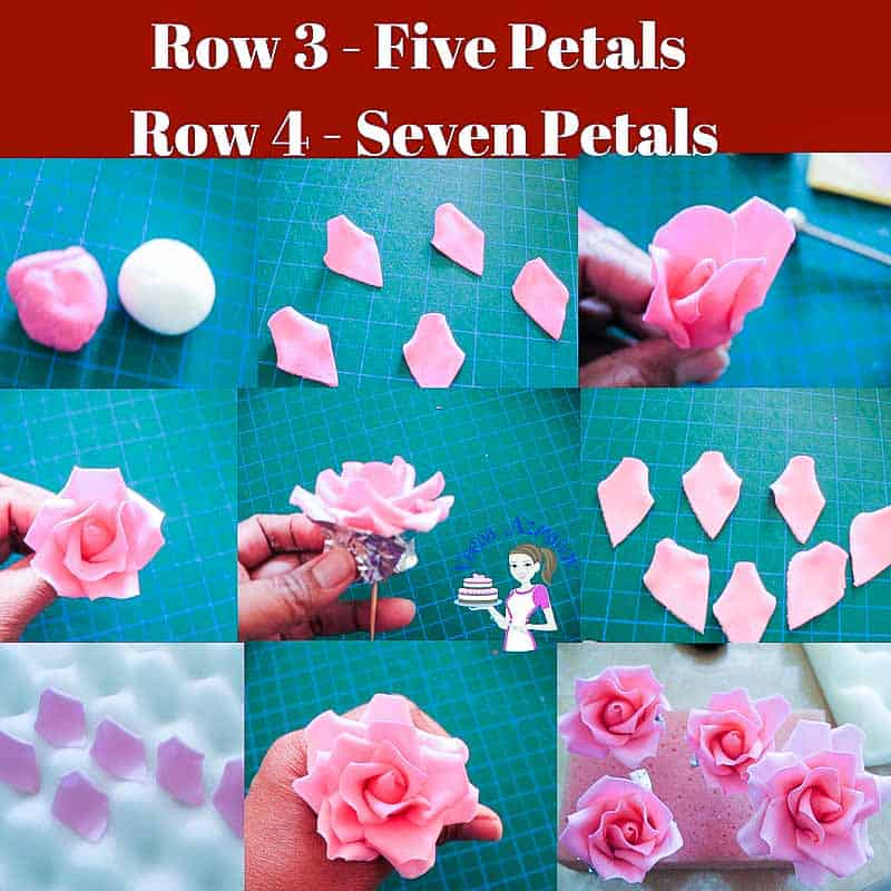 Progress Picture 3 for gumpaste rose tutorial - how to make the third and forth row of petals for the gum paste rose.