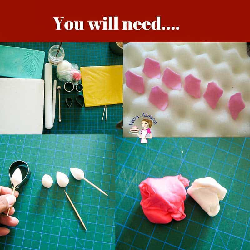 progress photos of how to make gum paste roses.