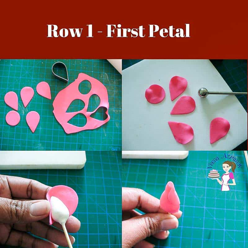 Progress Picture 1 - How to make a gum paste rose, making the first raw of petal for the gumpaste rose