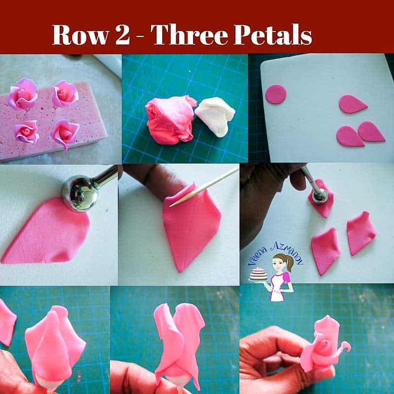 Progress Picture 2 - How to make the gumpaste rose tutorial showing how to make the second row of petals for the gum paste rose