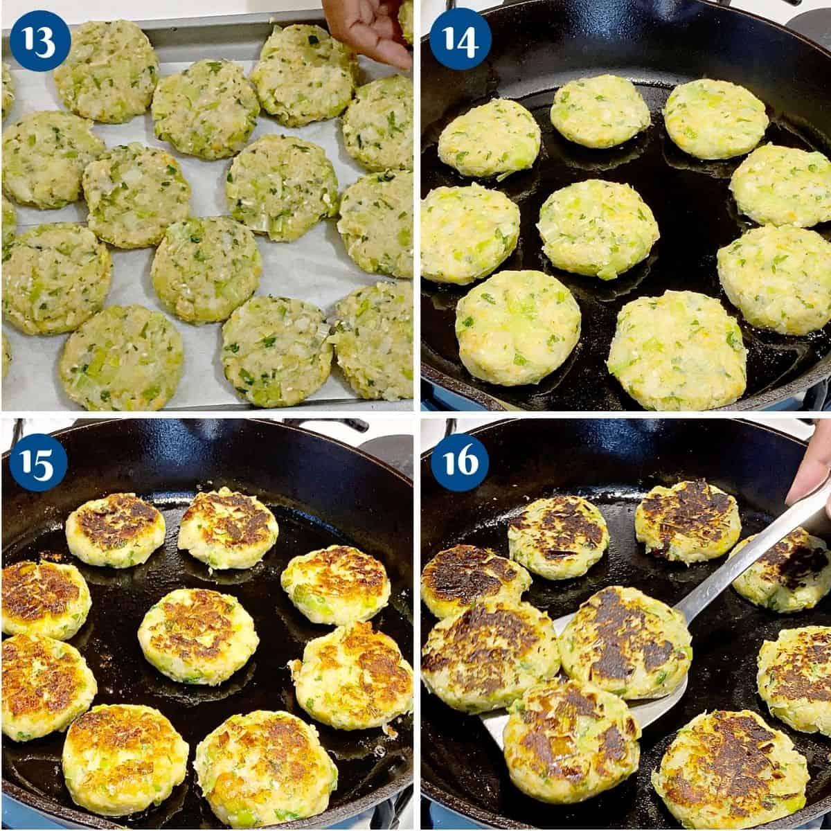 Progress pictures collage pan frying the leek potato patties.