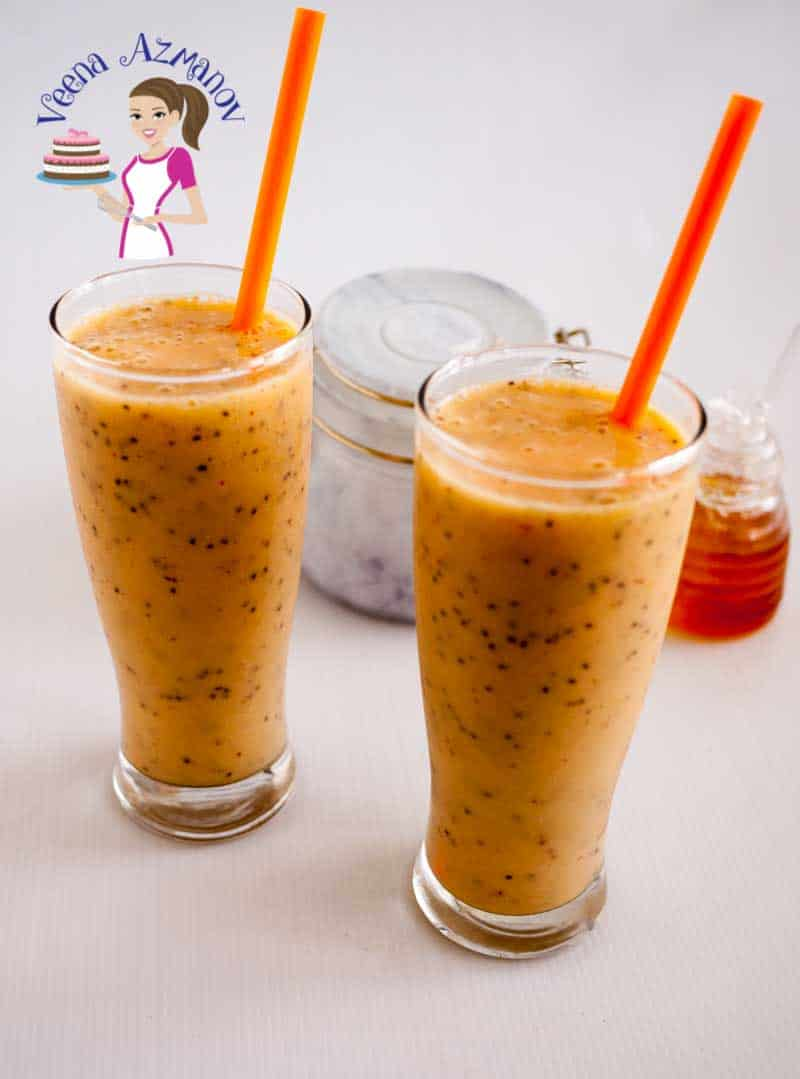 Another top angles show casing the color and texture of this healthy summer drink - mango chia smoothie