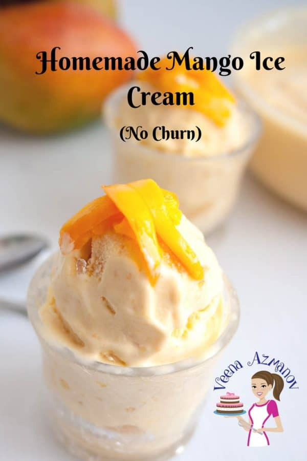 A web optimized image for sharing this Mango Ice cream. This no churn mango ice cream requires no ice cream maker with a simple, easy and effortless recipe