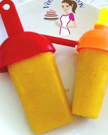 Two mango ice cream pops.