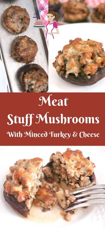 These meat stuffed mushrooms make excellent appetizers for any fancy dinner or celebration table such as Thanksgiving or Christmas. In fact they are so pretty on their own with the melted cheese on top; they need nothing to make them pretty. The juices from the meat nestle inside the cap and keep them juice that it's difficult to have just one.