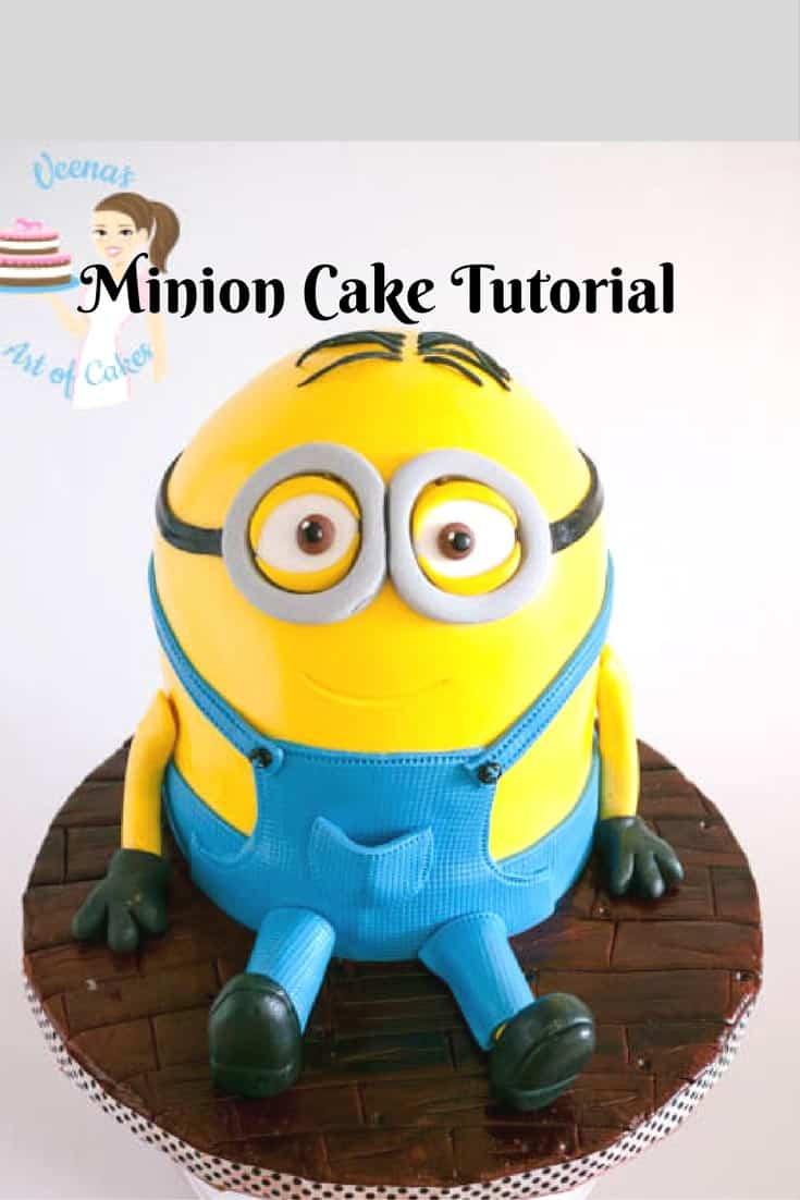 Pinterest optimized image for how to make a minion cake with progress pictures from start to finish. This is Dave the minion sitting on a fondant wooden floor