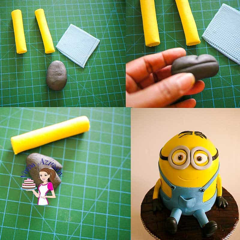 How to make a minion cake Progress Pictures 5 - Easy minion cake tutorial showing how to make minion hands, legs and hair.