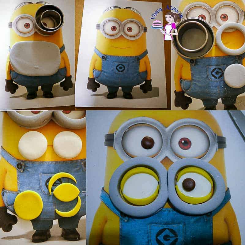 Minion cake tutorial Progress Picture 1 - Making the minion's eyes and glasses - step by step progress pictures