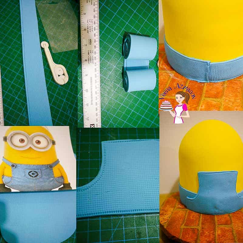 How to make a Minion Cake Tutorial Progress Picture 3 - showing how to make the blue overalls and adding stitch details for the overall.