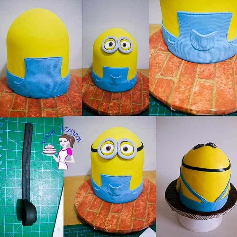 Progress photos of making a cake decorated to look like a minion.