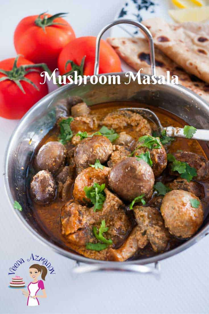 Pinterest optimized image for mushroom masala restaurant style made in a creamy tomato yogurt sauce, made with curry powder